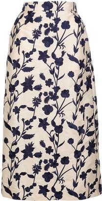 Brock Collection high-waist floral midi skirt