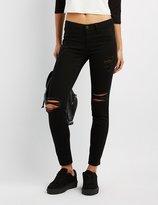 Charlotte Russe Refuge Skin Tight Legging Destroyed Jeans
