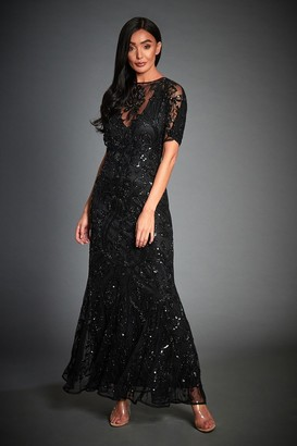 Jywal London BLACK BEADED GATSBY WEDDING GUEST MAXI DRESS