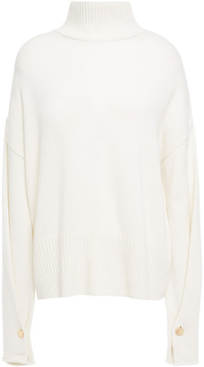 Autumn Cashmere Button-detailed Cashmere Turtleneck Sweater