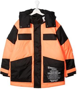 DSQUARED2 TEEN logo print hooded puffer jacket