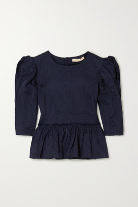Brock Collection Metallic Crinkled-twill Peplum Blouse - Navy
