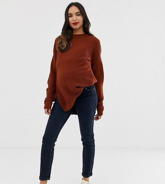 Asos DESIGN Maternity kimmi boyfriend jeans in blackened blue wash with over the bump band