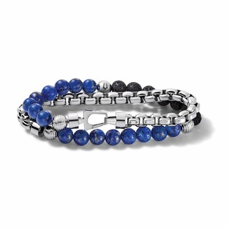 Bulova Mens Classic Double-Wrap Lapis Black Lava and Stainless Steel Bead and Box-Chain Bracelet (Model J96B024M)