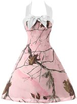 Sunvary Pink Camouflage Halter Junior Pageant Maxi Prom Homecoming Dresses Size