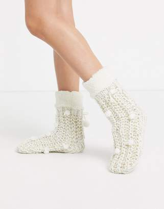 Hunkemoller short slipper sock boot in cream