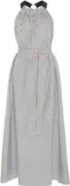 Tibi Belted Striped Cotton-Poplin Dress