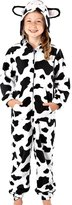 Selina Girls Childrens Black and White Cow or Dog Soft 160GSM Micro Fleece Face and Ears Hooded Onsie Loungesuit Pyjammas Size Age 7-8
