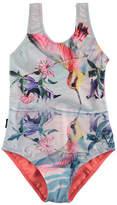 Molo Nika One-Piece Hummingbird Swimsuit, Size 2-12