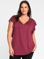 Old Navy Relaxed Tie-Front Ruffle-Sleeve Top
