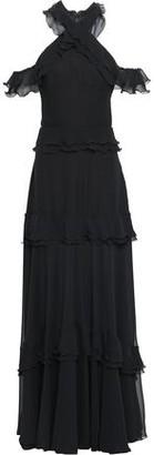 Talbot Runhof Cold-shoulder Tiered Chiffon Gown