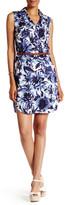 ECI Sleeveless Floral Belted Shirtdress