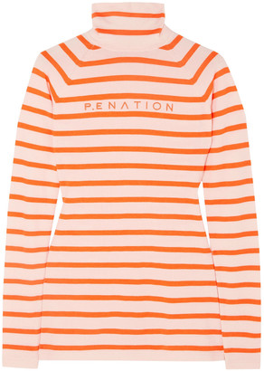 P.E Nation + Woolmark Second Stroke Embroidered Striped Wool-blend Turtleneck Sweater
