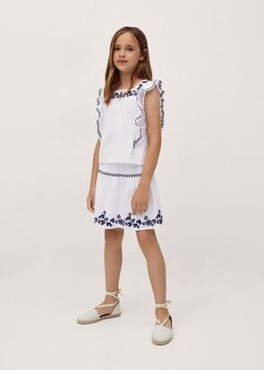 MANGO Embroidered cotton skirt