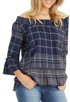 Democracy Off-the-Shoulder Plaid Cotton Blouse
