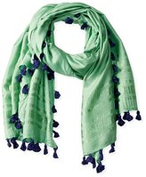 La Fiorentina Women's Solid Scarf with Contrasting Tassels
