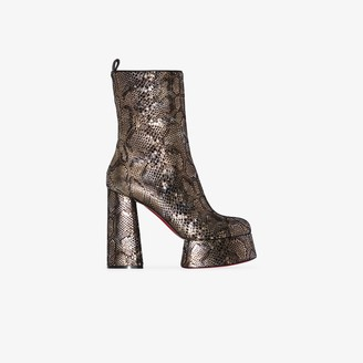 Christian Louboutin Brown and Black Izamayeah 130 Snake Print Platform Boots