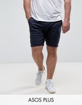 Asos Plus Skinny Chino Shorts In Navy