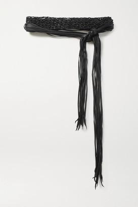 CARAVANA + Net Sustain Venus Fringed Woven Leather Waist Belt - Black