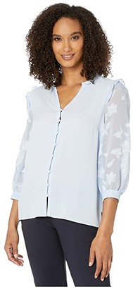 CeCe Mix Media 3/4 Sleeve Blouse with Button Placket (Bluebird) Women's Clothing