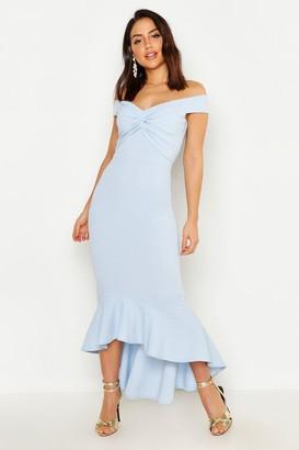 boohoo Bardot Knot Front Dip Hem Maxi Dress