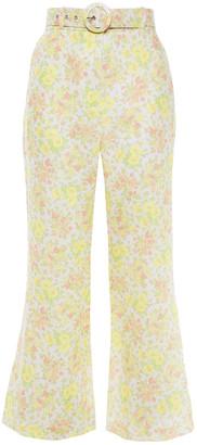 Zimmermann Belted Floral-print Linen Flared Pants