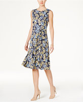 Charter Club Petite Belted Floral-Print Fit & Flare Dress, Only at Macy's