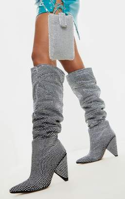 PrettyLittleThing Diamante Cone Heel Over The Knee Slouch Boot