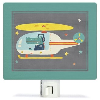 Oopsy Daisy Fine Art For Kids Animal Drivers Helicopter by Irene Chan Night Light