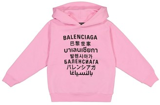 Balenciaga Kids Languages cotton jersey hoodie