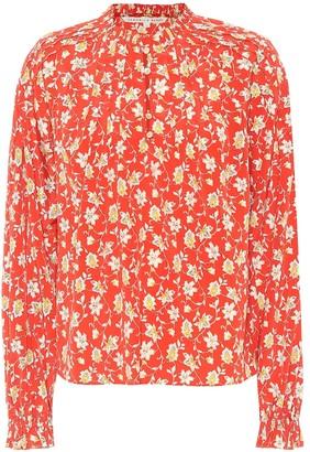 Veronica Beard Reba floral stretch-silk blouse
