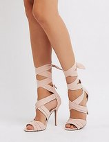 Charlotte Russe Faux Suede Ankle Wrap Dress Sandals