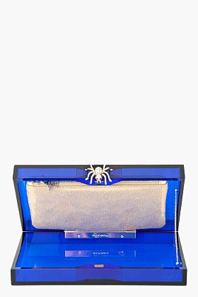 Charlotte Olympia Blue Transparent Perspex Spider-Clasp Pandora Box Clutch