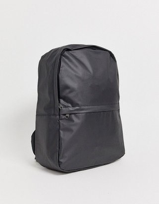 Asos DESIGN backpack in black coated faux leather