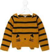 Emile et Ida cat motif striped sweater