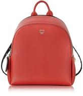 MCM Polke Studs Ruby Red Leather Mini Backpack