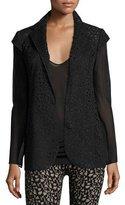 Akris Laser-Cut Knit-Back Jacket, Black