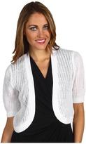 MICHAEL Michael Kors Petite Mesh Stitch Bolero Sweater (White) - Apparel