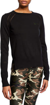 The Upside Logo Patch Pointelle Knit Cotton Pullover