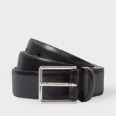 Paul Smith Men's Black Saffiano Stripe Leather Suit Belt
