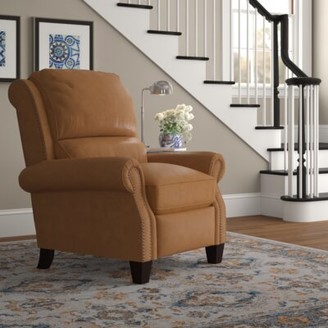 Three Posts Tavon Leather Manual Recliner Upholstery Color: Shoreham Ponytail