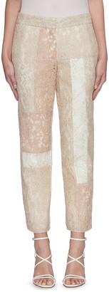 Koché Lace patchwork crop tailored pants