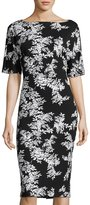 Vince Camuto Floral-Print Short-Sleeve Sheath Dress, Black/White