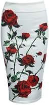 BeautyGal Women's Pencil High Waist Printed Color Block Midi Skinny Skirt