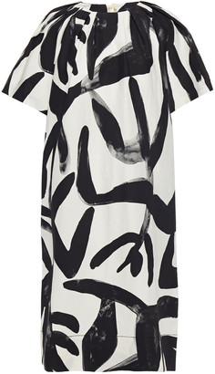 Lee Mathews Maisie Grosgrain-trimmed Printed Woven Dress