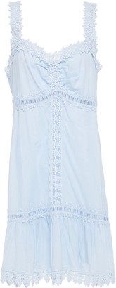 Charo Ruiz Ibiza Crocheted Lace-trimmed Shirred Cotton-blend Voile Mini Dress