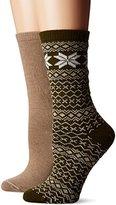 Hue Women's Fairisle Tipped Boot Sock 2 Pk