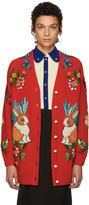 Gucci Red Oversized Embroidered Wool Cardigan