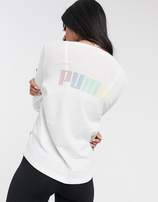 Puma long sleeve multi colour logo top in white