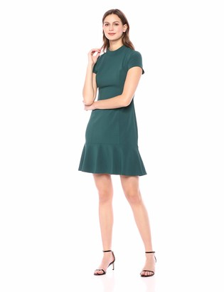 Lark & Ro Women's Short Sleeve Mocke Neck Ruffle Hem Sheath Dress